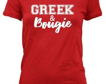 Greek & Bougie Delta Sigma Theta Red and White Women's T-shirt