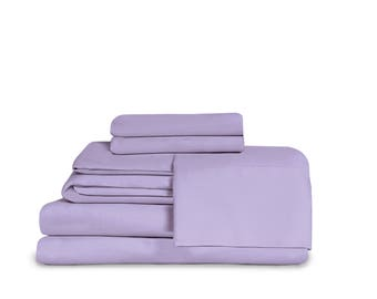 Effortless Bedding Microfiber 4 Piece Sheet Set Featuring Patented Fitted Top Sheet, Lavender