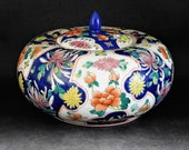 Chinese Pumpkin Pot Decorated with Flowers Imari Palette Free UK Postage