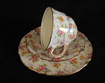 Vintage Royal Winton Chintz Trio ~ Cup - Saucer & Plate Eleanor Patt 1940s ~ Free UK Postage
