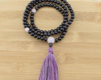 Rosewood Mala Beads Necklace with Rose Quartz | 8mm | 108 Buddhist Meditation Prayer Beads with Tassel | Free Shipping