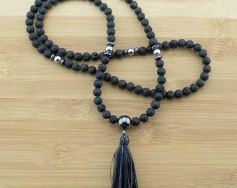 Lava Rock Mala Necklace with Hematite | 8mm | 108 Buddhist Meditation Prayer Beads with Tassel | Free Shipping