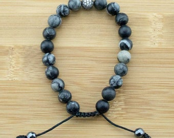 Black Silkstone Yoga Beads Bracelet with Crystal Pave | 8mm | Mala Bracelet | Meditation | Wrist Mala | Free Shipping