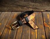 Light brown long leather belt. Vintage casual belt