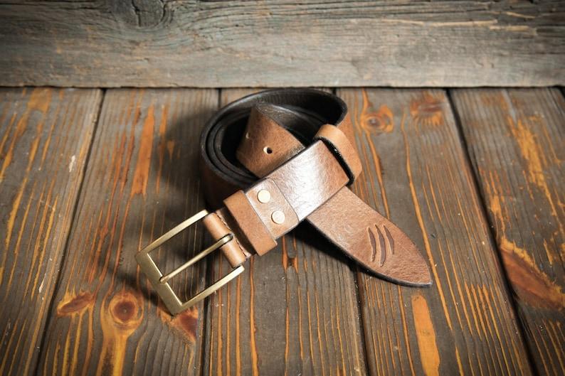 Lasting and soft belt Wide handmade belt for trouser Brass buckle Long belt Brown genuine italian leather belt