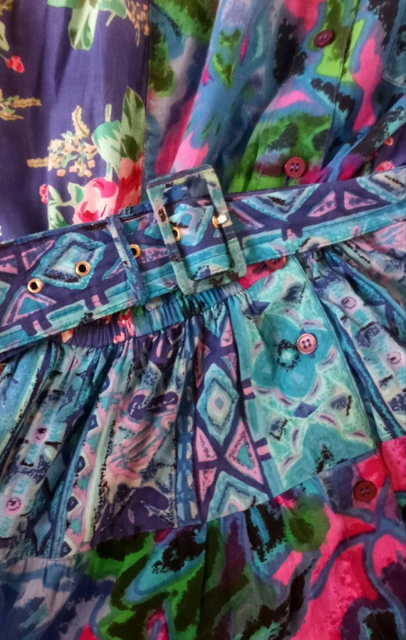 1980s Floral Gypsy Dress - image 2