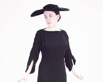1930s black crepe dress