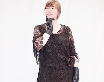 1920s black lace dress