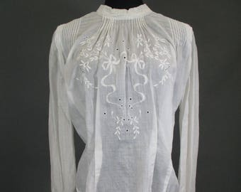 Hand embroidered Edwardian Blouse with eyelets