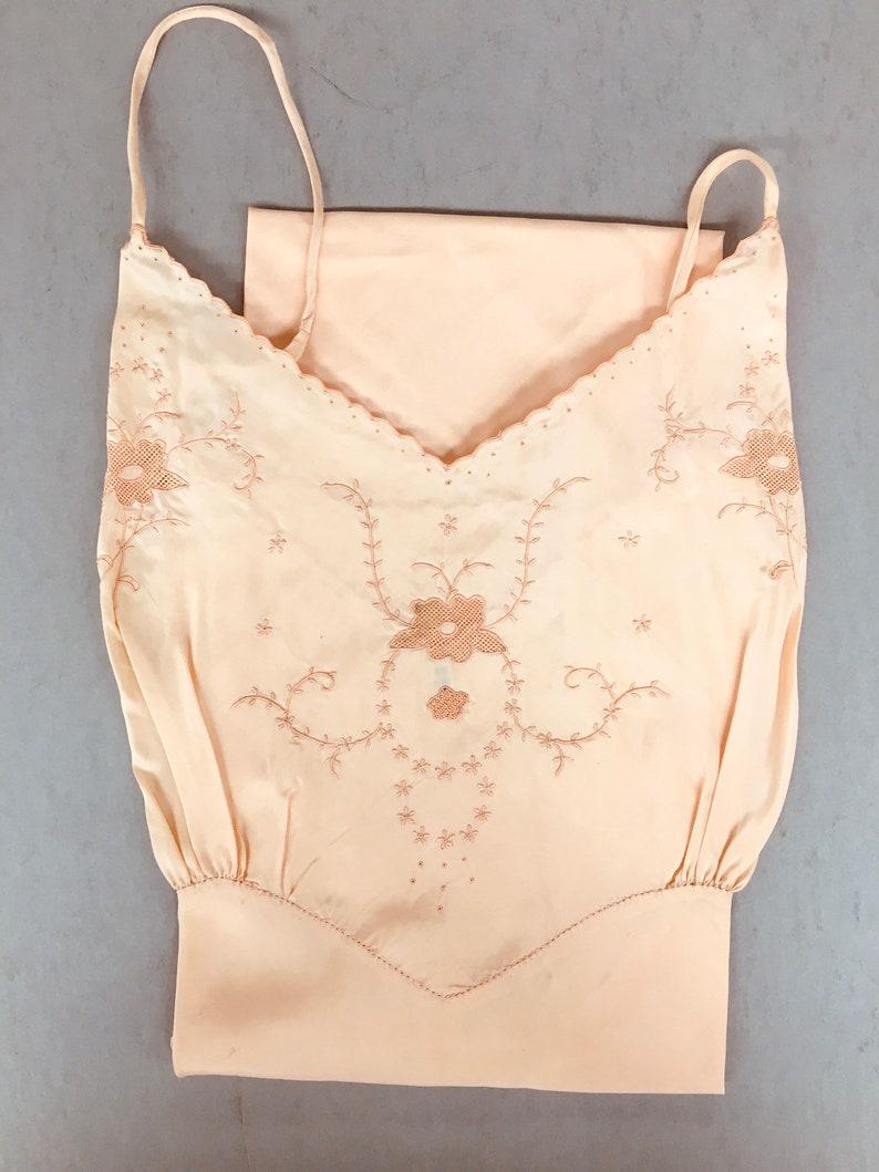 Vintage NOS 1950s L Bust 40\u201d Pale Peach Cold Rayon Bias Cut Full Slip Choose your embroidery design unworn deadstock slips,