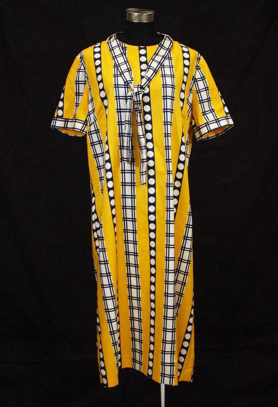 1960s XL nautical striped mod shift dress, Yellow
