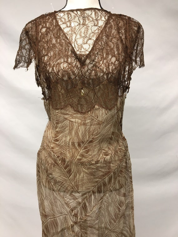1930s XS Silk Brown Palm Print Dress, Brown Rasch… - image 7