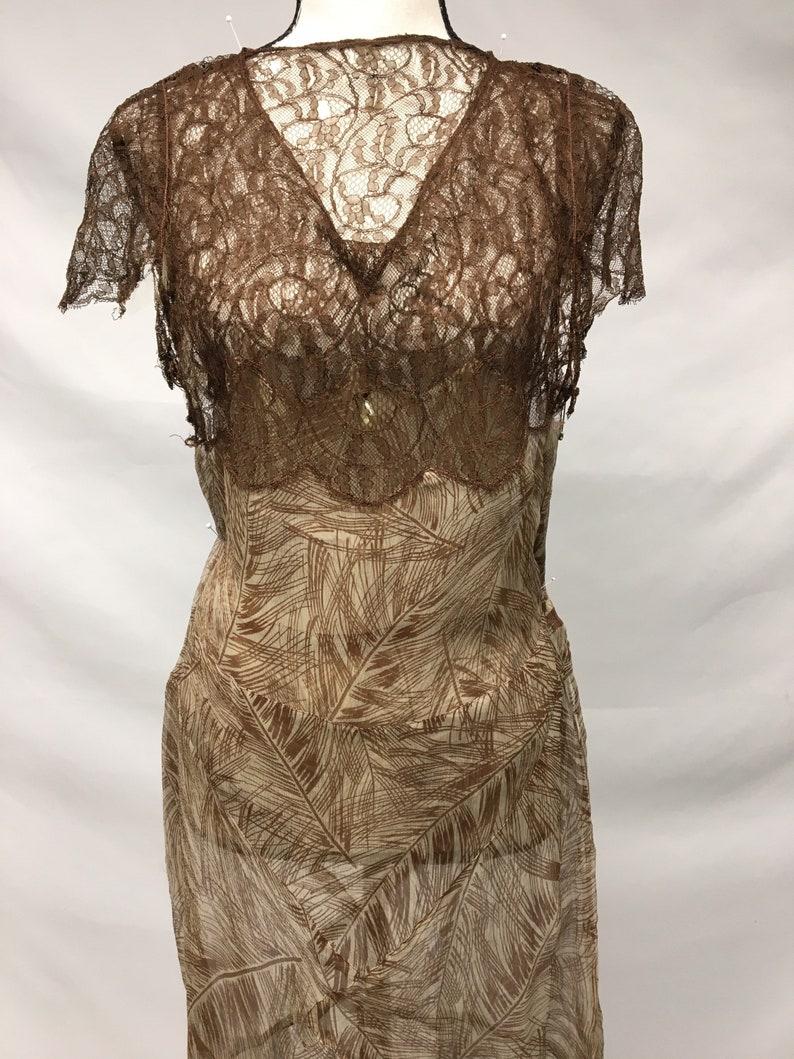 1930s XS Silk Brown Palm Print Dress Restoration project Great Gatsby dress Brown Raschel Lace Silk crinkle chiffon AS IS