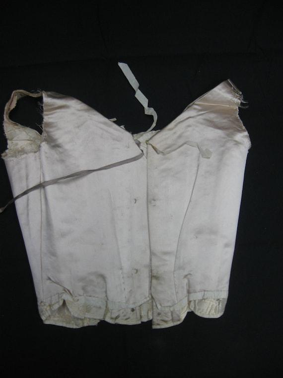 1890s XXS Ivory Silk Satin Corset Bodice w Stays,… - image 3