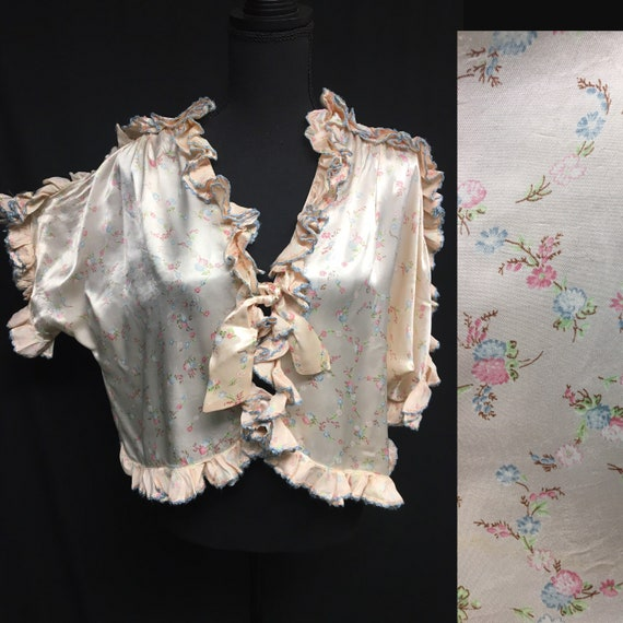 1950s Volup Pale Peach Satin Ruffle bed jacket wit