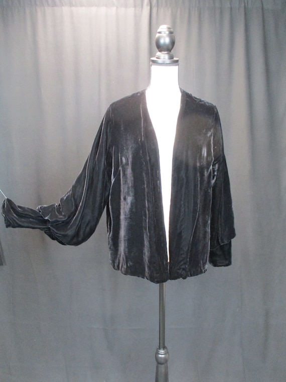 1930s M Black Silk Velvet Evening Jacket, Bishop s