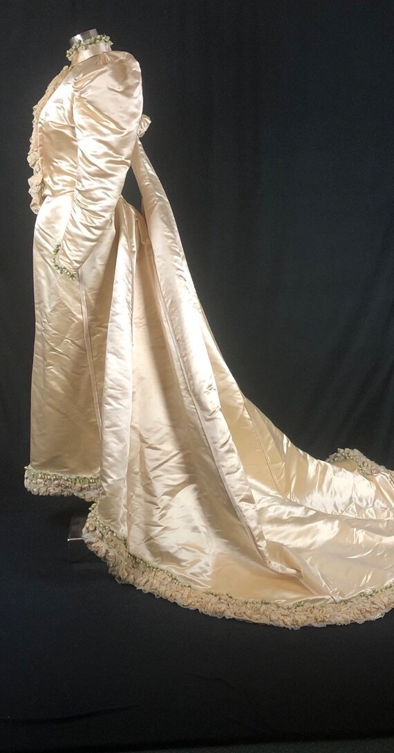 1890s XS Historical Wedding Bridal Gown, Bodice /… - image 3