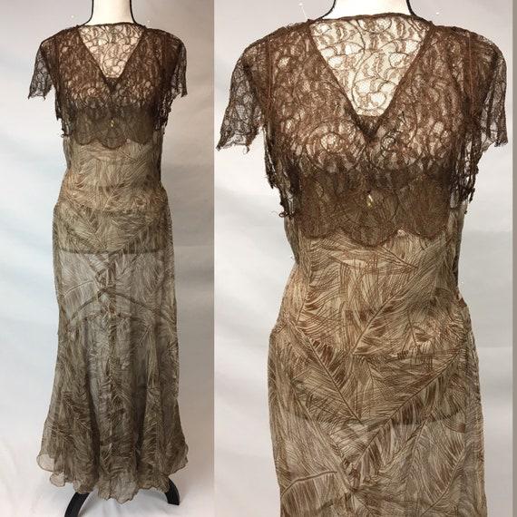 1930s XS Silk Brown Palm Print Dress, Brown Rasch… - image 1