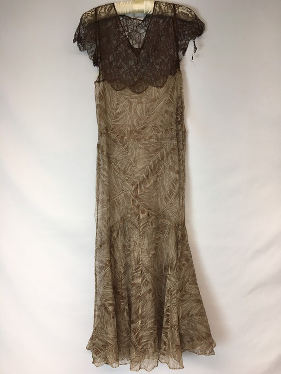 1930s XS Silk Brown Palm Print Dress, Brown Rasch… - image 3