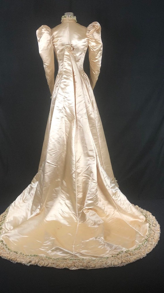 1890s XS Historical Wedding Bridal Gown, Bodice /… - image 4