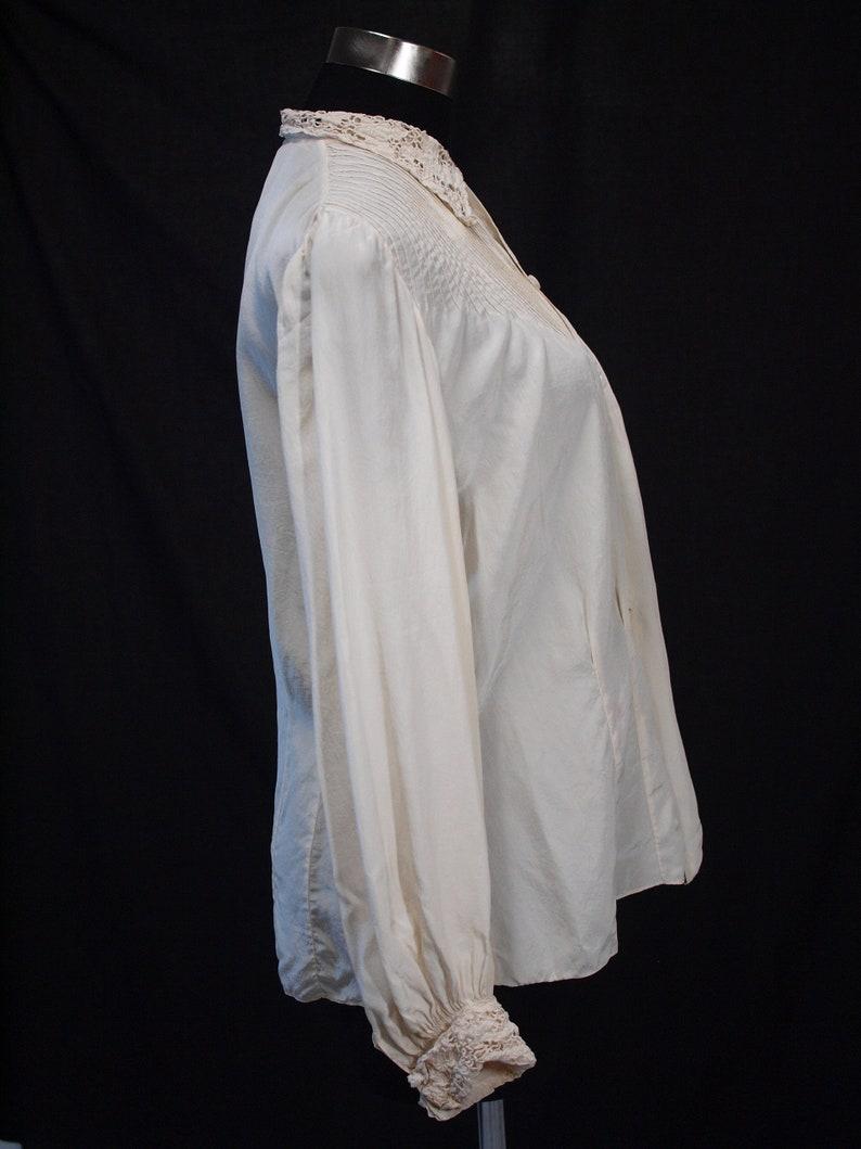 1940s silk blouse with richelieu work