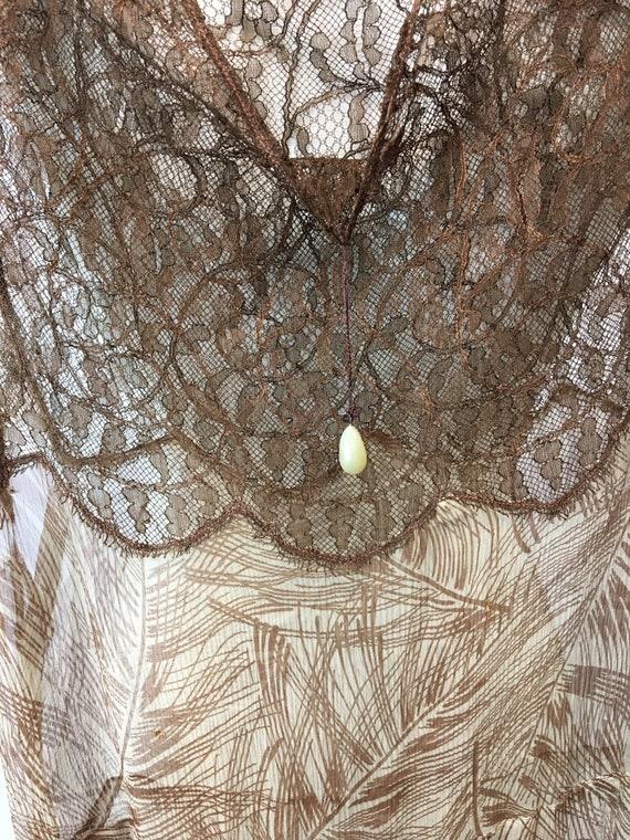 1930s XS Silk Brown Palm Print Dress, Brown Rasch… - image 2
