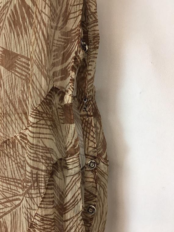 1930s XS Silk Brown Palm Print Dress, Brown Rasch… - image 6