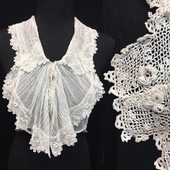 1900s Ivory Antique Edwardian Irish Crochet Collar