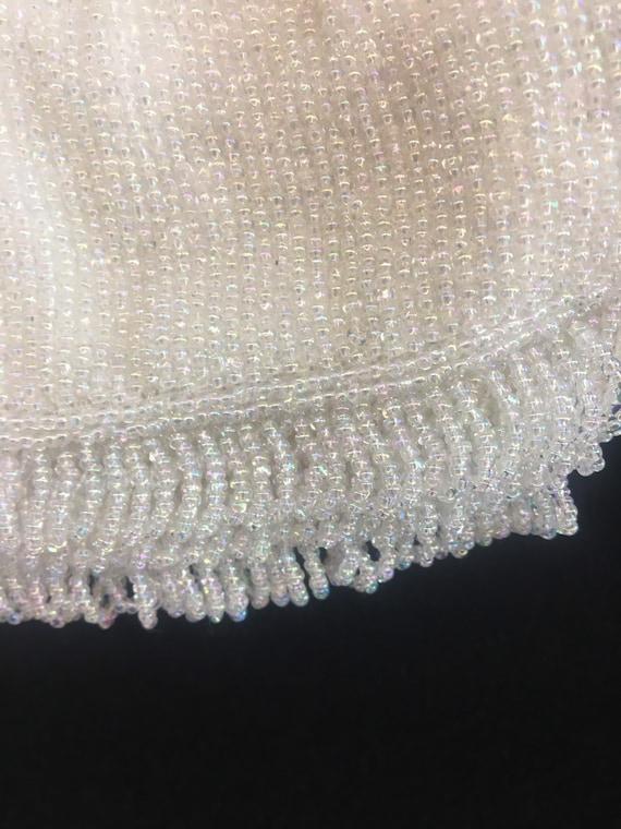1950s Small white satin evening handbag beaded wi… - image 5