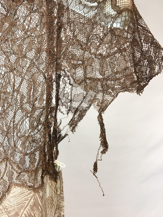 1930s XS Silk Brown Palm Print Dress, Brown Rasch… - image 8