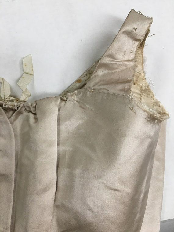 1890s XXS Ivory Silk Satin Corset Bodice w Stays,… - image 7