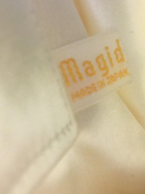 1950s Small white satin evening handbag beaded wi… - image 7