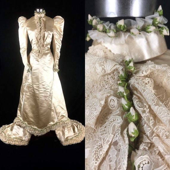 1890s XS Historical Wedding Bridal Gown, Bodice /