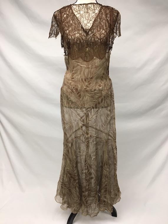 1930s XS Silk Brown Palm Print Dress, Brown Rasch… - image 4