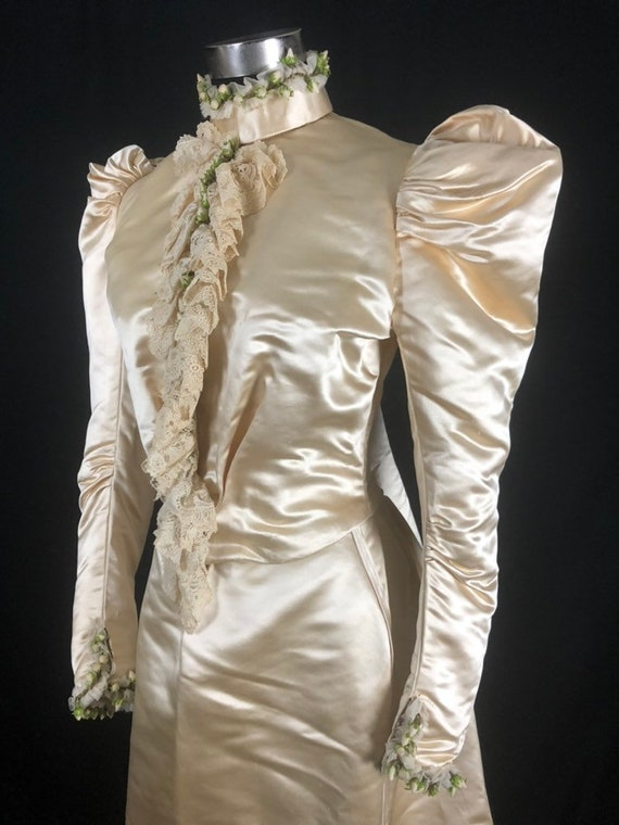 1890s XS Historical Wedding Bridal Gown, Bodice /… - image 2