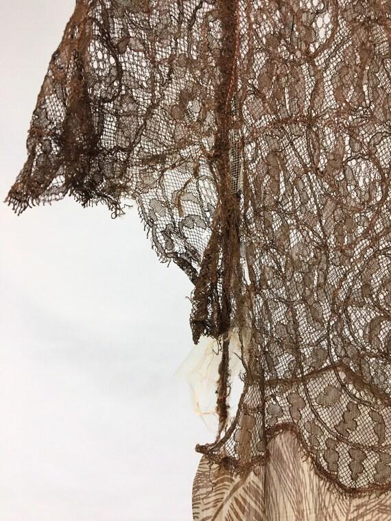 1930s XS Silk Brown Palm Print Dress, Brown Rasch… - image 5