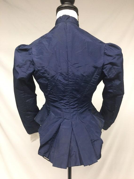 1890s XXS Navy Silk Button Down Bodice, Pleated P… - image 2