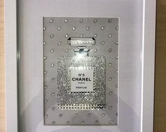 d88dbc996635ed Designer inspired Silver perfume bottle framed art - Glamorous - Blinged-out