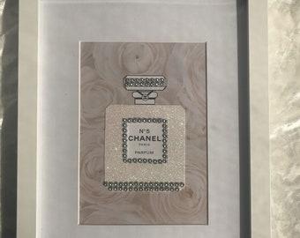 Chanel No.5 perfume bottle framed art - Roses and bling - Glamorous