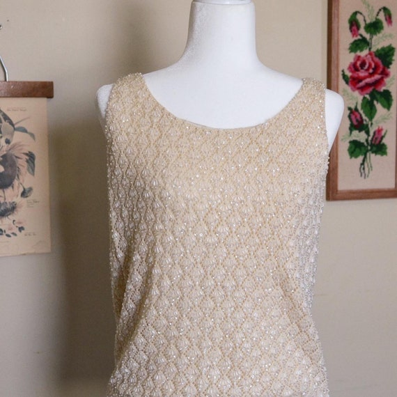 Vintage 1950's Hand Beaded Sleeveless Top |Vintage