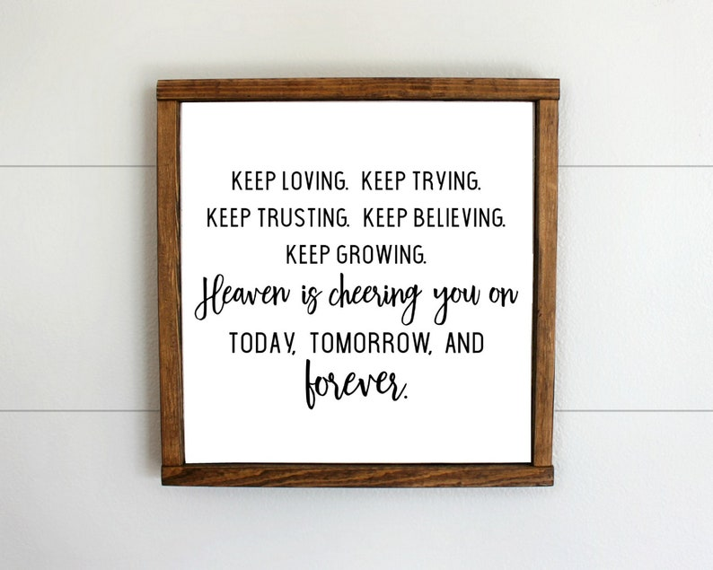 Heaven is Cheering You On Today Tomorrow and Forever Wood Sign, LDS Quotes,  LDS Decor, LDS gifts, custom signs, lds wood wall sign decor