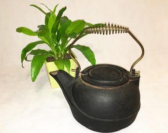 Vintage Kettle Pot / Antique Farmhouse Decor / Vintage Cast Iron Tea Kettle / Farm Rustic / Pot Bail Wire Handle