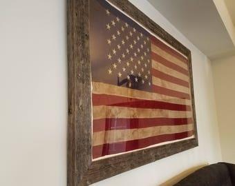 29908beb0aec Rustic Barnwood Framed Tea-stain American Flag