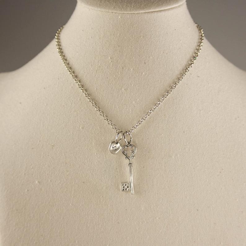 best friend necklace Diamond heart key charm XL111 silver necklace custom personalized initial necklace Key necklace,love key necklace