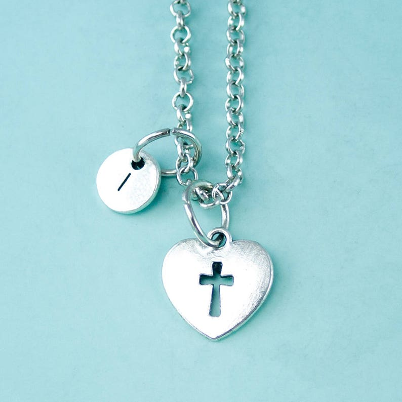 daughter necklace Personalized initial necklace custom necklace initial charm,XL306 mother love cross necklace silver necklace
