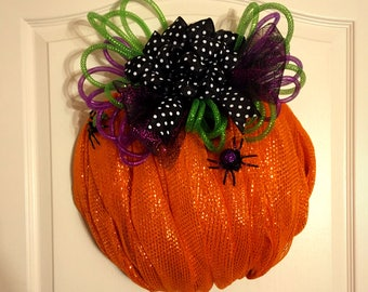 Cute and Creepy Deco Mesh Halloween Pumpkin Wreath