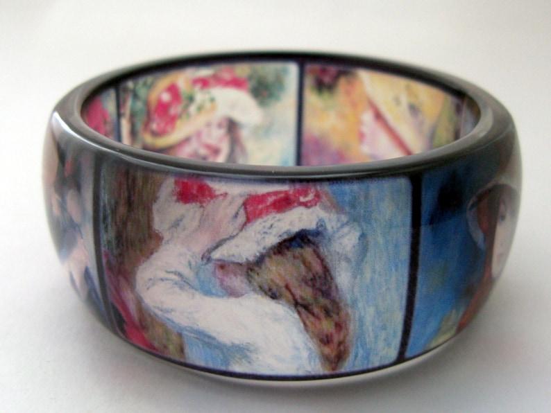 Renoir painting jewelry Handcrafted resin bracelet 6.8 cm
