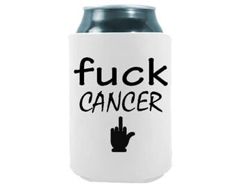 Fuck Cancer - Set of Two - Joke Humor Gift Can Coolers for Drinks Beer Beverage Holder  - Quality Neoprene No Fade Can Cooler