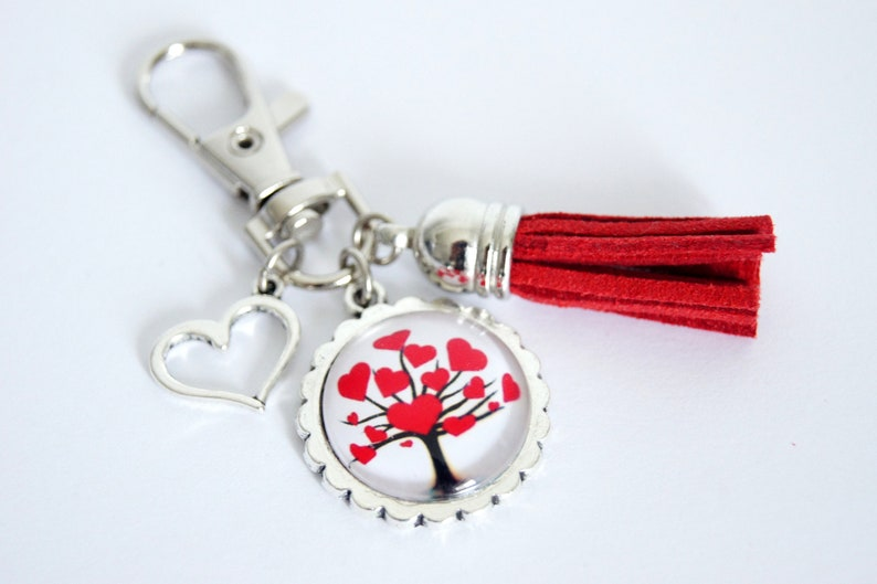 Personalized Keychain bag tree heart red Valentine's image 0