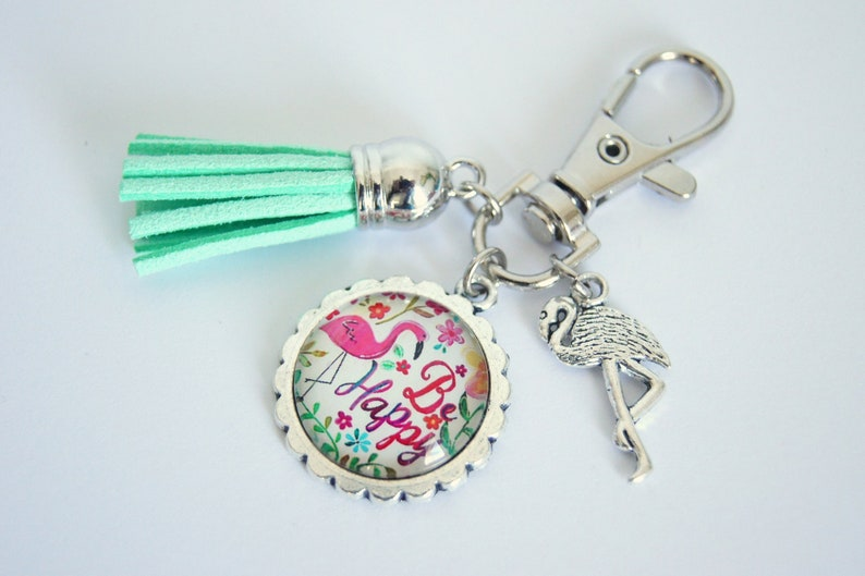 Personalized Keychain bag charm Be Happy Flamingo image 0